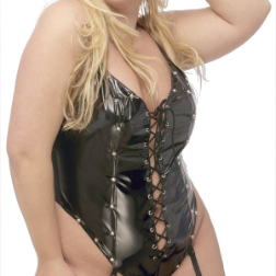 Lace-Up Plus Size Patent Teddy, 4-2657X
