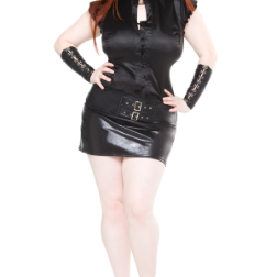 Plus Size Skirt - Wet Look w/ Buckles