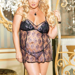 Two Tone All Over Lace Chemise