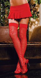 Fishnet Thigh High with Lace Top