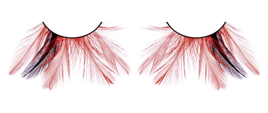 Baci Eyelashes, Paradise Dreams - Black-Red Feather
