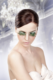 Brown-Green-Purple Feather Eyelashes