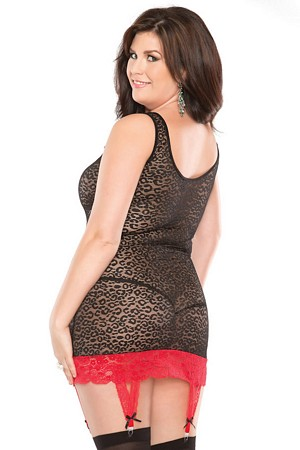 Plus Size Lingerie - Chemise by Coquette in Black/Red Animal Print