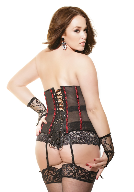 Plus Size Lingerie in Size 1X-2X, red waist cincher
