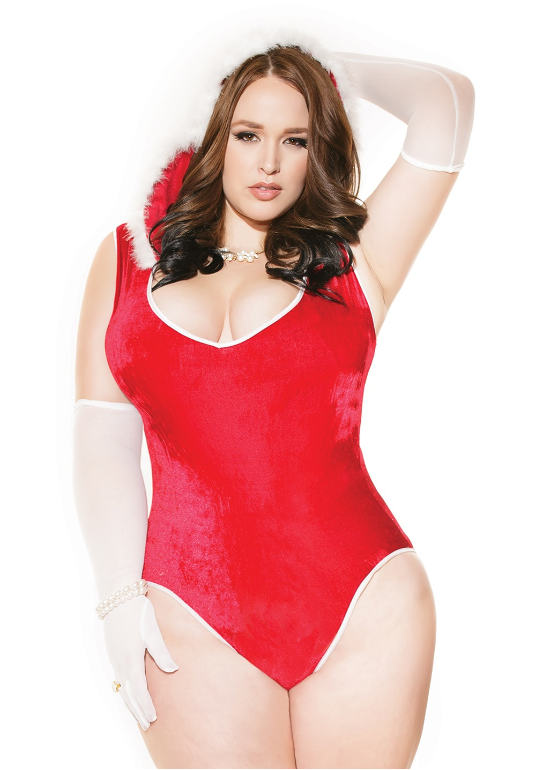 Plus Size Lingerie in Queen Size, OS/XL, Santa Outfit in Red