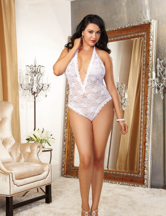 Plus Size Lingerie, Sexy Bridal Teddy in White, Queen Size