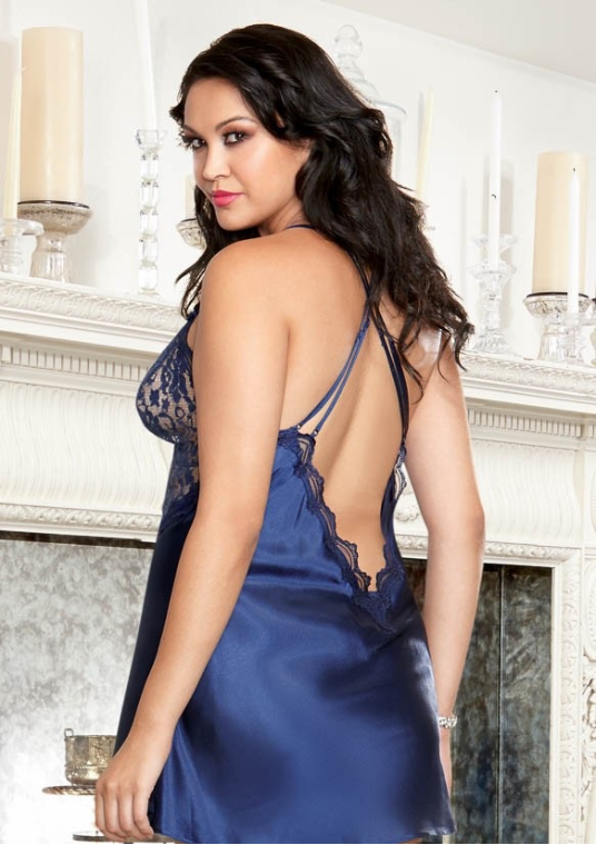Sexy Plus size chemise in midnight blue, rear view