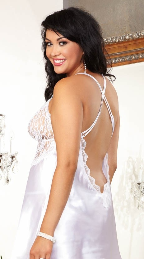 Plus Size Lingerie for Brides - Rear View in white