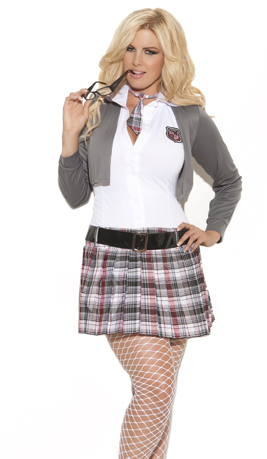 School Girl Costume in Grey Plaid Color, Great for Curves