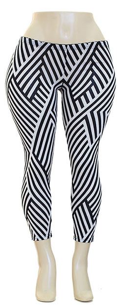 Plus Size Haci Leggings with Stripes - Sizes 1X, 2X, 3X