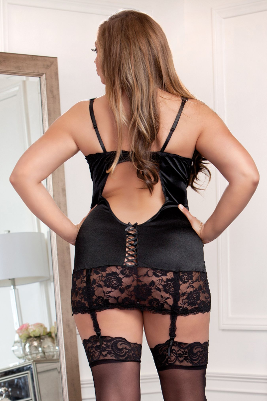 Plus Size Lingerie for Curves - Rear View in Black