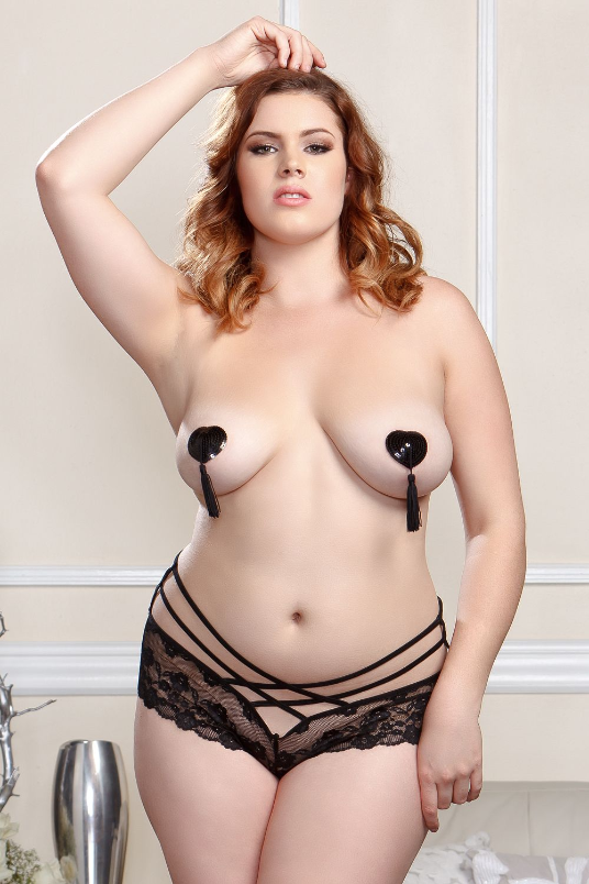Plus Size Panty in 1X, 2X, 3X, 4X, Black, front view