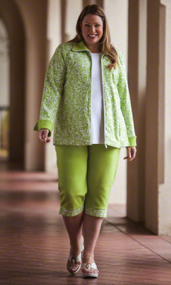 Plus Size Crop Pants shown with matching green top
