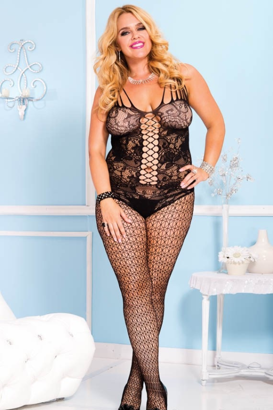Plus Size Bodystocking, One Size, Queen, Black