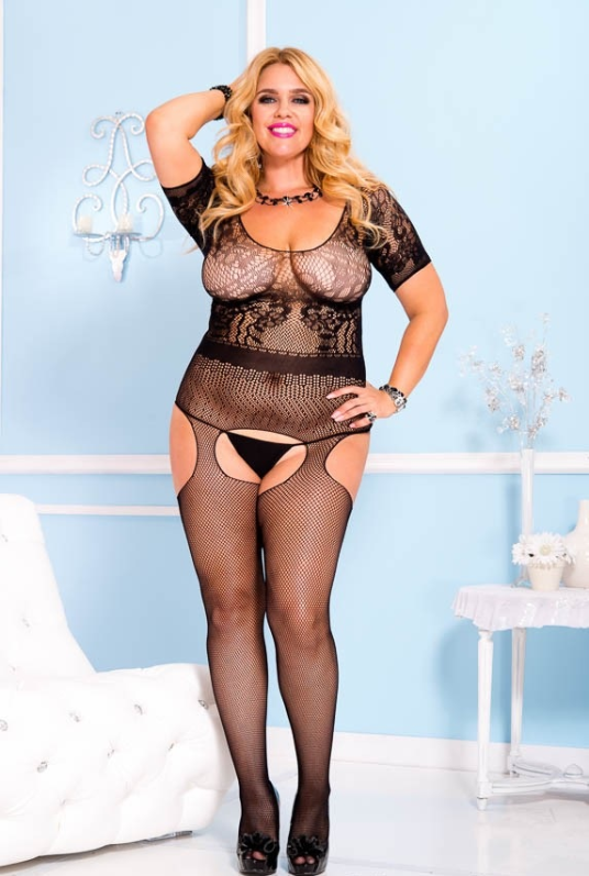 Black Bodystocking in Queen Sizes for Curves