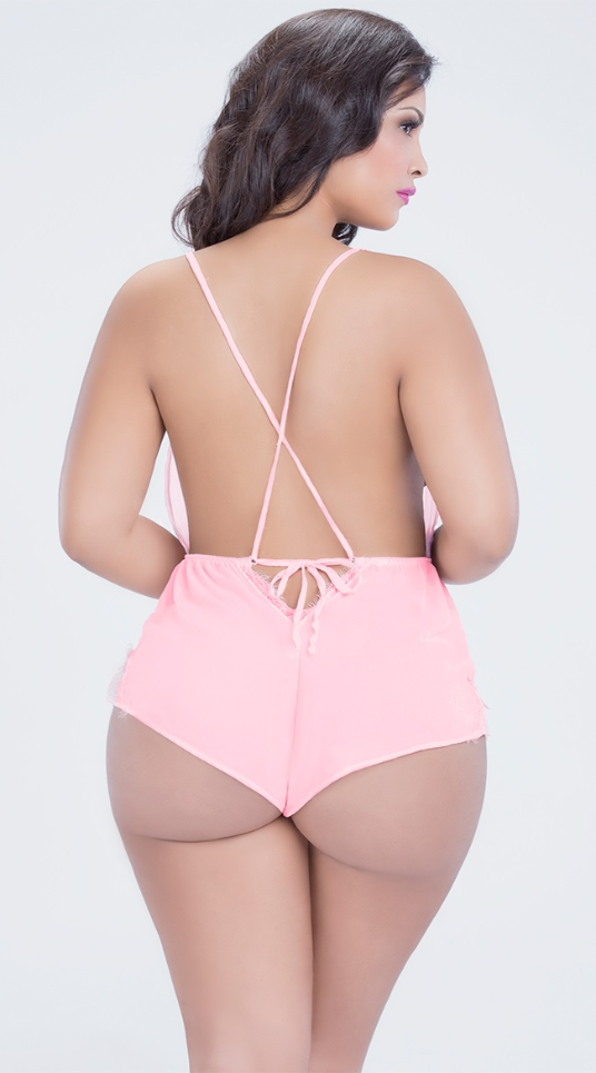 Rear view of sexy plus size teddy in pink