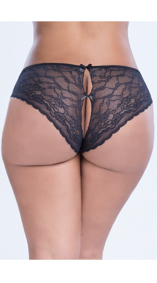 Panties for Curves in Sizes  1X/2X, 3X/4X, crotchless, rear view