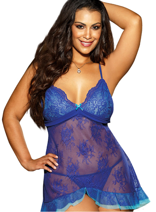 Plus Size floral chemise by Shirley of Hollywood X25360 in Blue