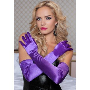 Satin Opera Length Gloves in Purple