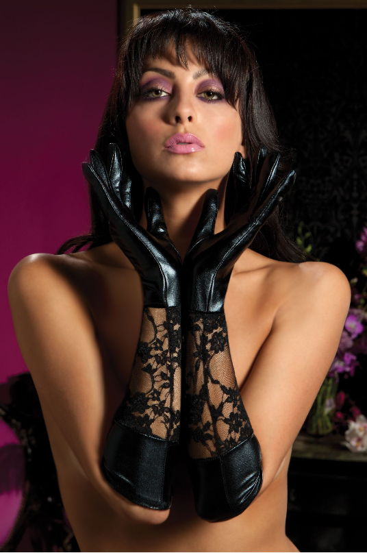 Lace and Lame Elbow Gloves - Dominatrix