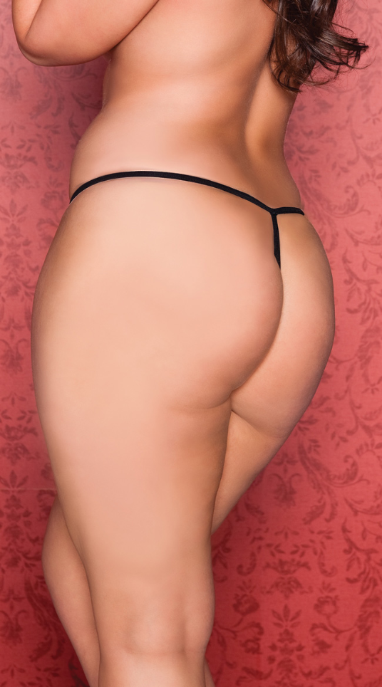 Split Crotch Lace Thong in Queen Size - White or Black by Seven Til Midnight
