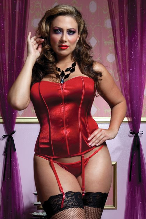 Plus Size Corset in red by Seven Till Midnight, Matching Thong