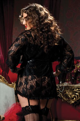 Plus Size Lingerie, Plus Size Robe in Black