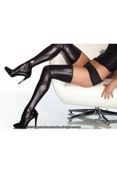 Plus Size Wet Look Thigh High Stockings in Black, Coquette Darque D1728