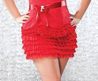 Sexy Plus Size Ruffle Skirt in Red