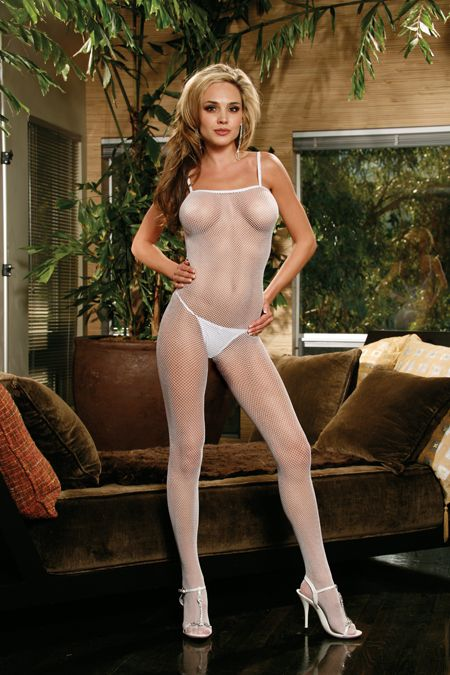 Seamless Plus Size Bodystocking with Criss Cross Back - White