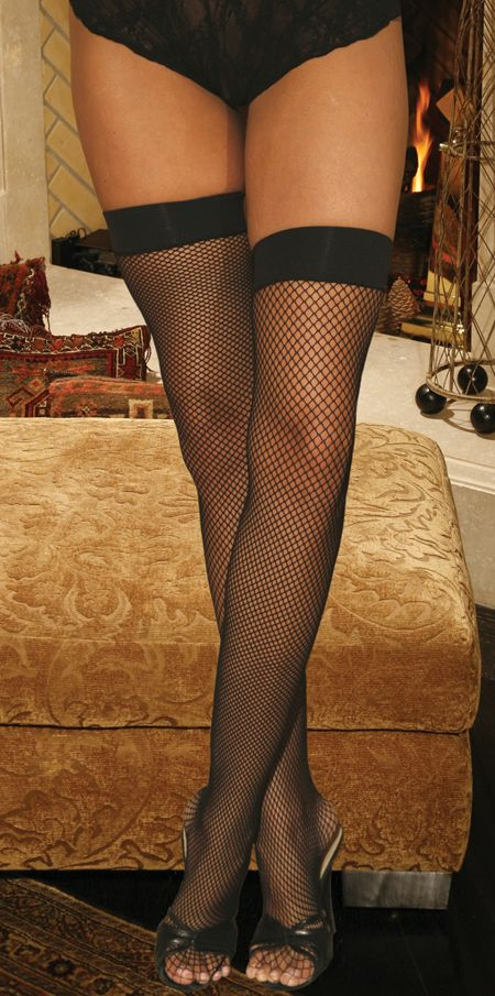 Hosiery, Plus Size Fishnet Hosiery with Silicone Tops in Black