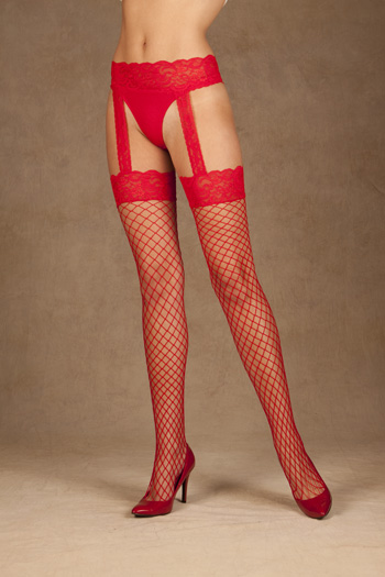Plus Size Hosiery, Diamond Net Thigh High with attached Garter Belt
