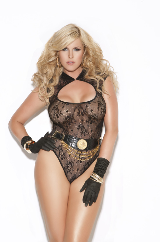 Plus Size Lace Teddy by Elegant Moments, 8593Q