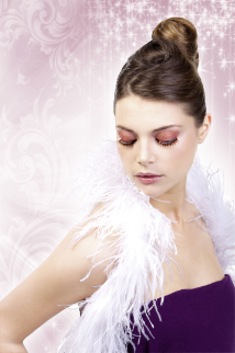 Beige-Red Rhinestone Eyelashes