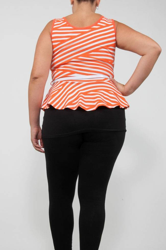 Plus Size Clothing, Plus Size Peplum orange and white striped top