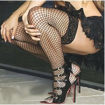 Backseam FISHNET Thigh High in plus sizes