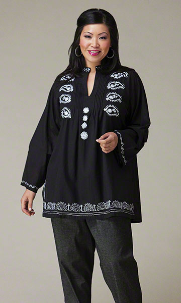 Making it Big Paisley Pleat Blouse in sizes 2X, 3X,4X, 5X, 6X