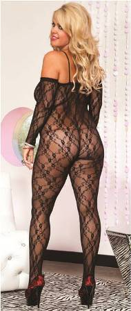 Hosiery, Plus Size Bodystocking in Lace, Music Legs, 1275Q