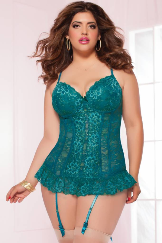Plus Size Lingerie, Bustier and Thong