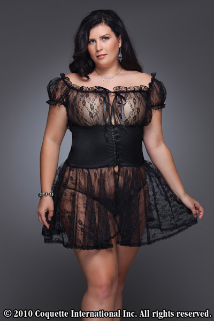 Floral Plus Size Babydoll & G-String