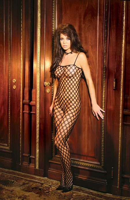 Plus Size Bodystocking - Seamless, Lycra, Crochet