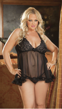 Stretch Lace & Chiffon Babydoll - Plus Sizes