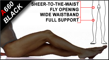 Sheer-to-Waist Support Pantyhose with Fly