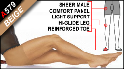 Light Support Pantyhose with Male-Comfort Front Panel