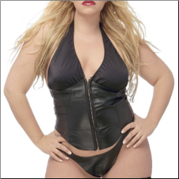 Plus Size Leather & Lycra Bustier