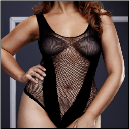 Plus Size Fishnet V-Teddy