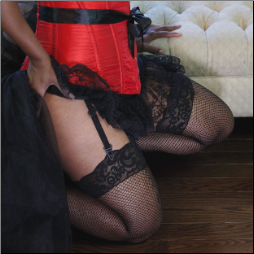 Lacetop Fishnet Stockings with BACKSEAM