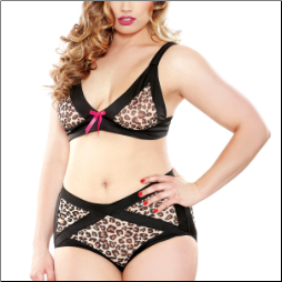 Plus Size Cut Out Bra and Booty Shorts - Leopard