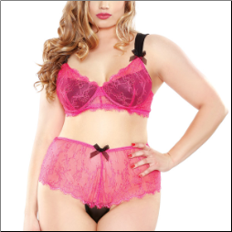 Plus Size Lace Bra with Matching Panty