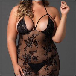 Floral Lace Cage Strap Bodystocking